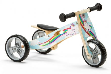 NIC814 Mini 2 in 1 Unicorn Wooden Balance Bike Trike